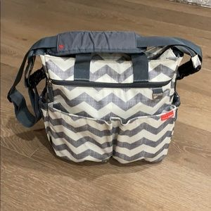 Diaper gray chevron and white bag